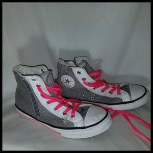 Silver and Pink High Top Chucks Size 4